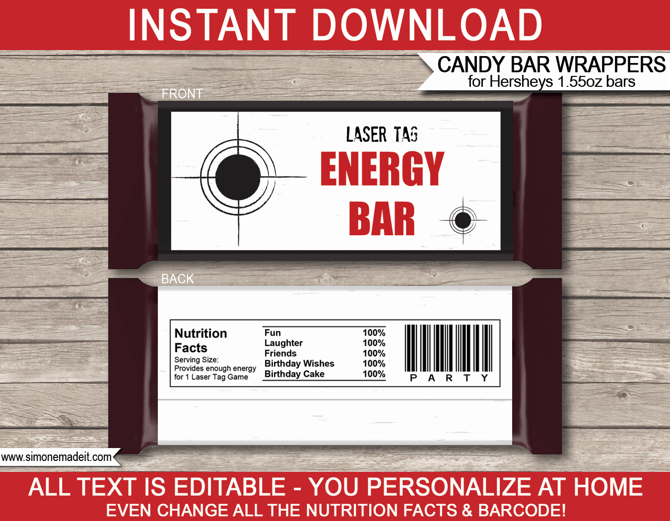 Hershey Bar Wrapper Template Luxury Laser Tag Hershey Candy Bar Wrappers