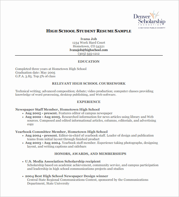High School Job Resume Awesome High School Student Resume Template