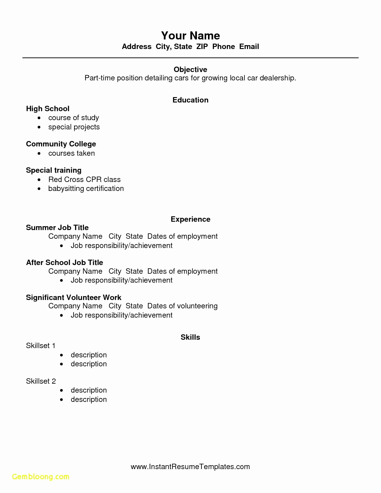 High School Job Resume Lovely Free Resume Templates High School Students