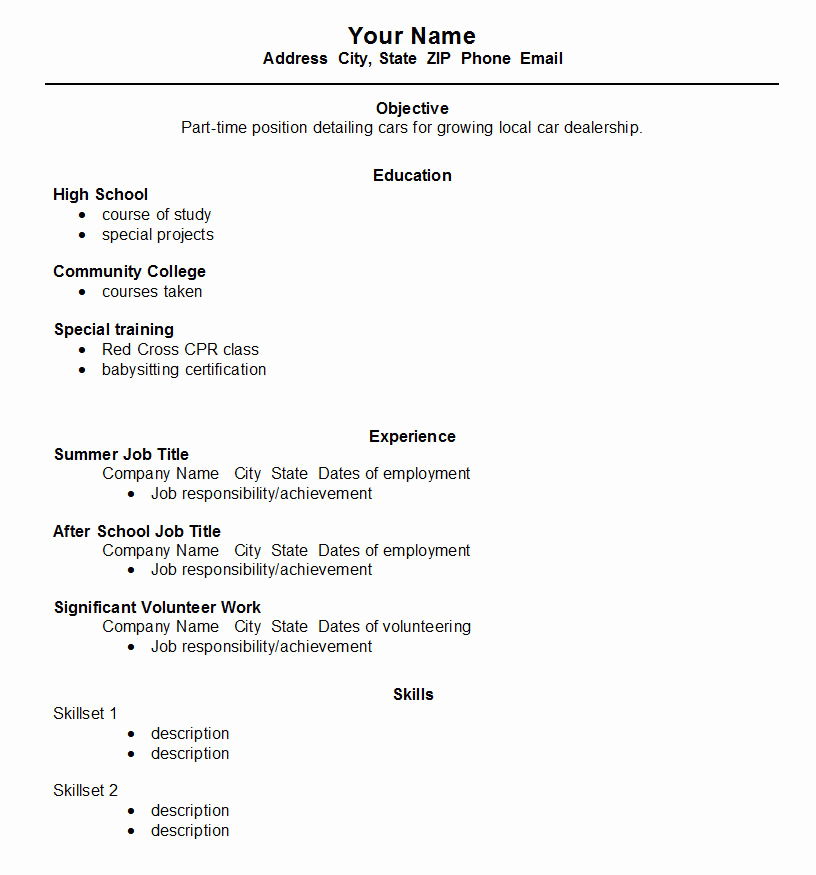 High School Job Resume Lovely High School Student Resume Template ← Open Resume Templates