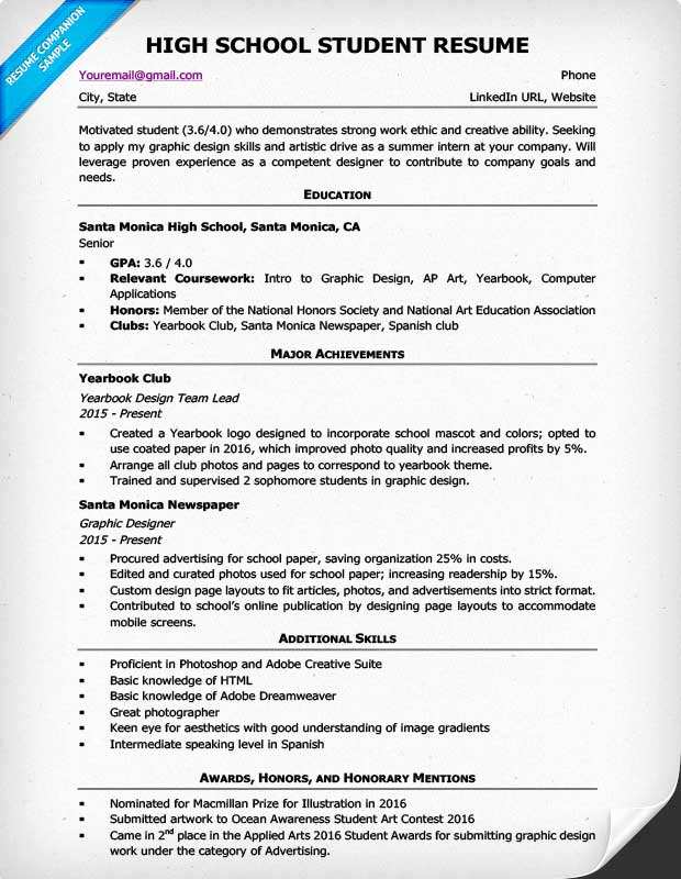 High School Resume Builder Beautiful High School Resume Template & Writing Tips