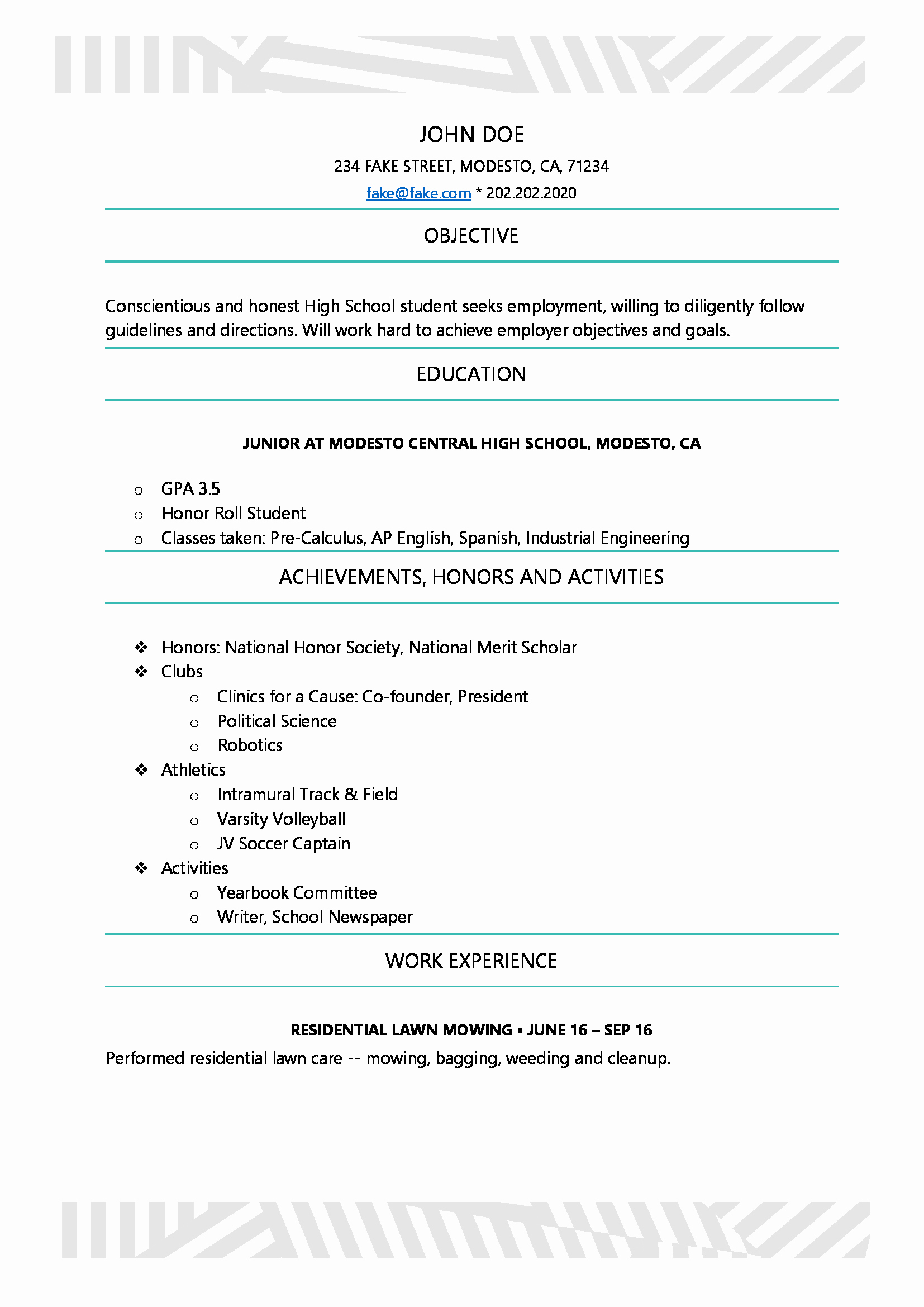 High School Student Resume Examples Awesome High School Resume High School Resume Templates
