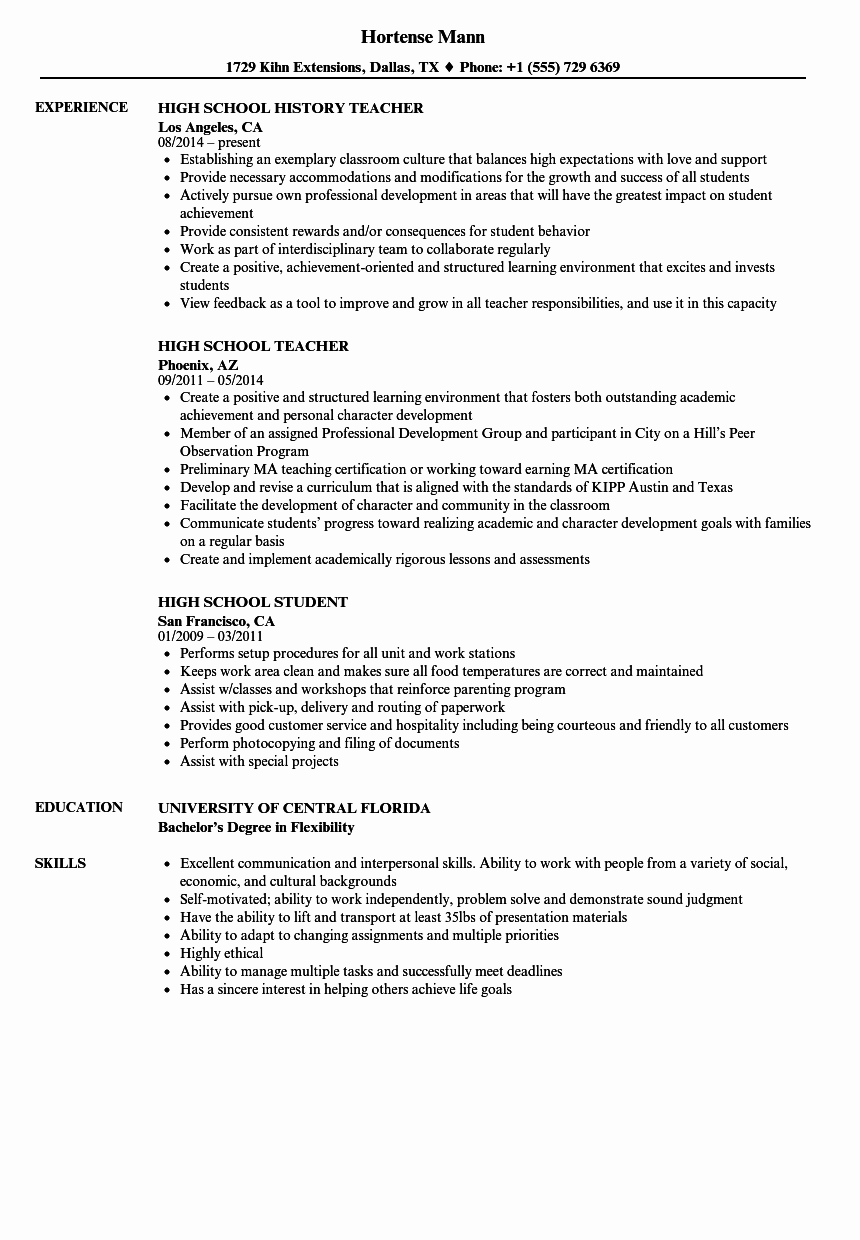High School Student Resume Examples Lovely Resume for High School Student Example – High School