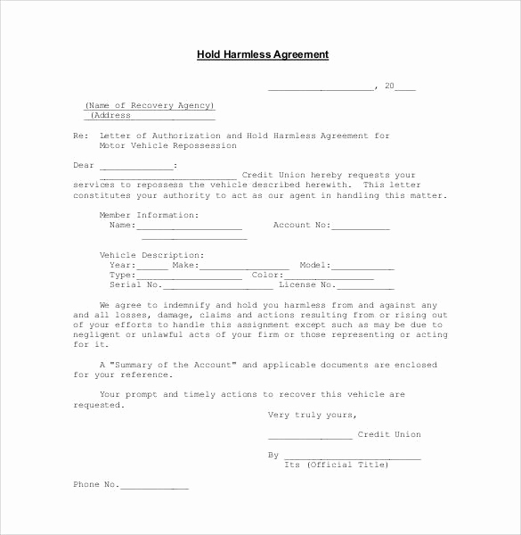 Hold Harmless Agreement form Awesome Hold Harmless Agreement 32 Download Documents In Pdf