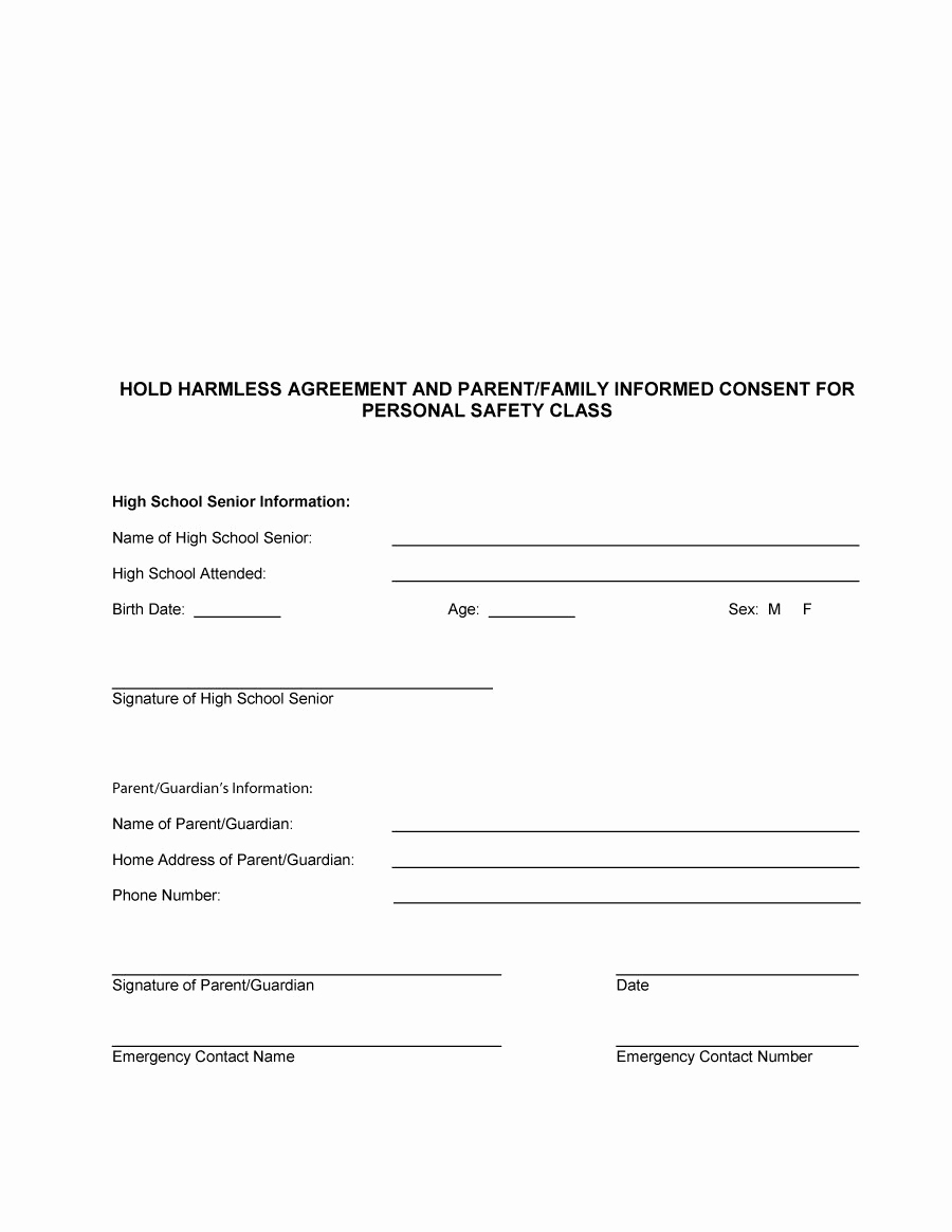 Hold Harmless Agreement form Beautiful 40 Hold Harmless Agreement Templates Free Template Lab