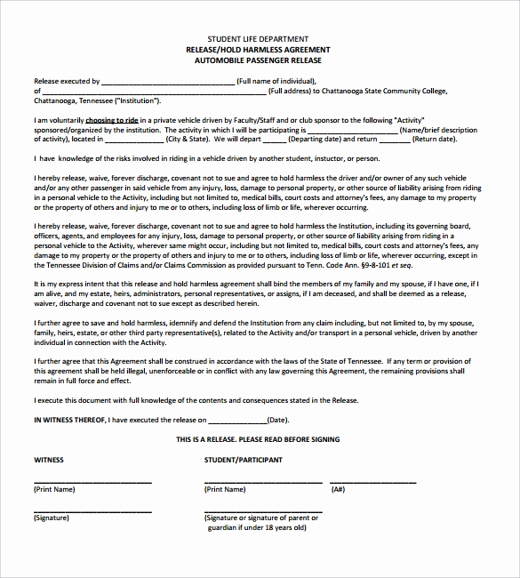 Hold Harmless Agreement form Beautiful Hold Harmless Agreement 32 Download Documents In Pdf