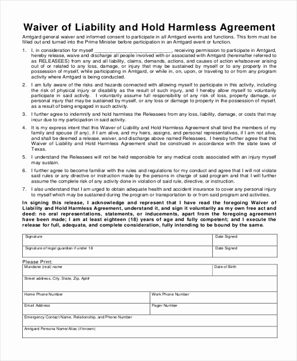 Hold Harmless Agreement form Best Of Sample Hold Harmless Agreement form 12 Free Documents