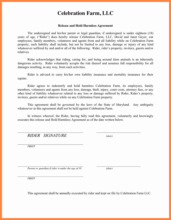 Hold Harmless Agreement form Elegant 5 Release and Hold Harmless Agreement form