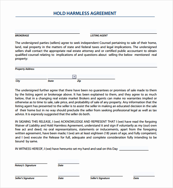 Hold Harmless Agreement form Inspirational 9 Sample Hold Harmless Agreements