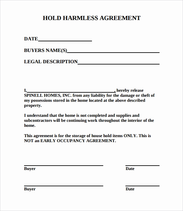 Hold Harmless Agreement form Inspirational Hold Harmless Agreement 11 Download Documents In Pdf