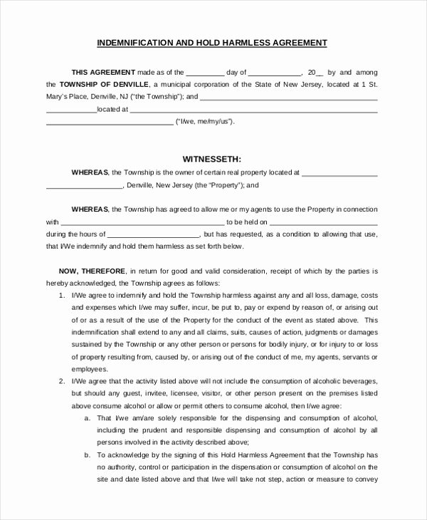 Hold Harmless Agreement form Inspirational Sample Hold Harmless Agreement form 12 Free Documents