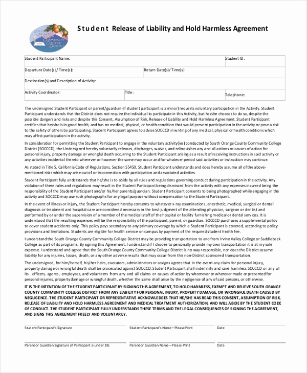 Hold Harmless Agreement form Lovely Sample Hold Harmless Agreement form 12 Free Documents