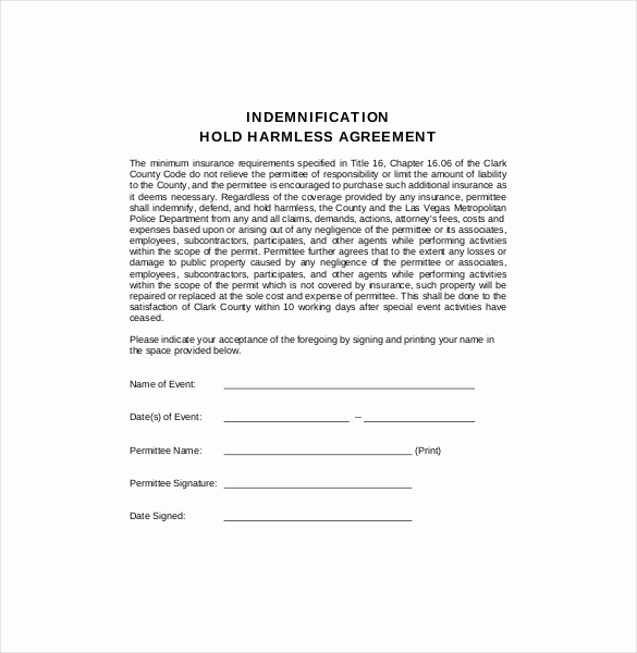 Hold Harmless Agreement form Luxury Hold Harmless Agreement Template – 15 Free Word Pdf