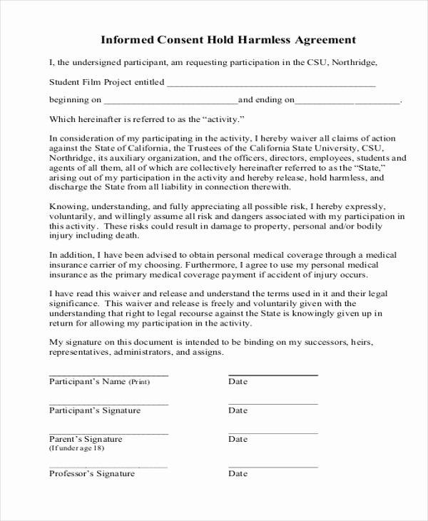 Hold Harmless Agreement form Luxury Sample Hold Harmless Agreement form 12 Free Documents
