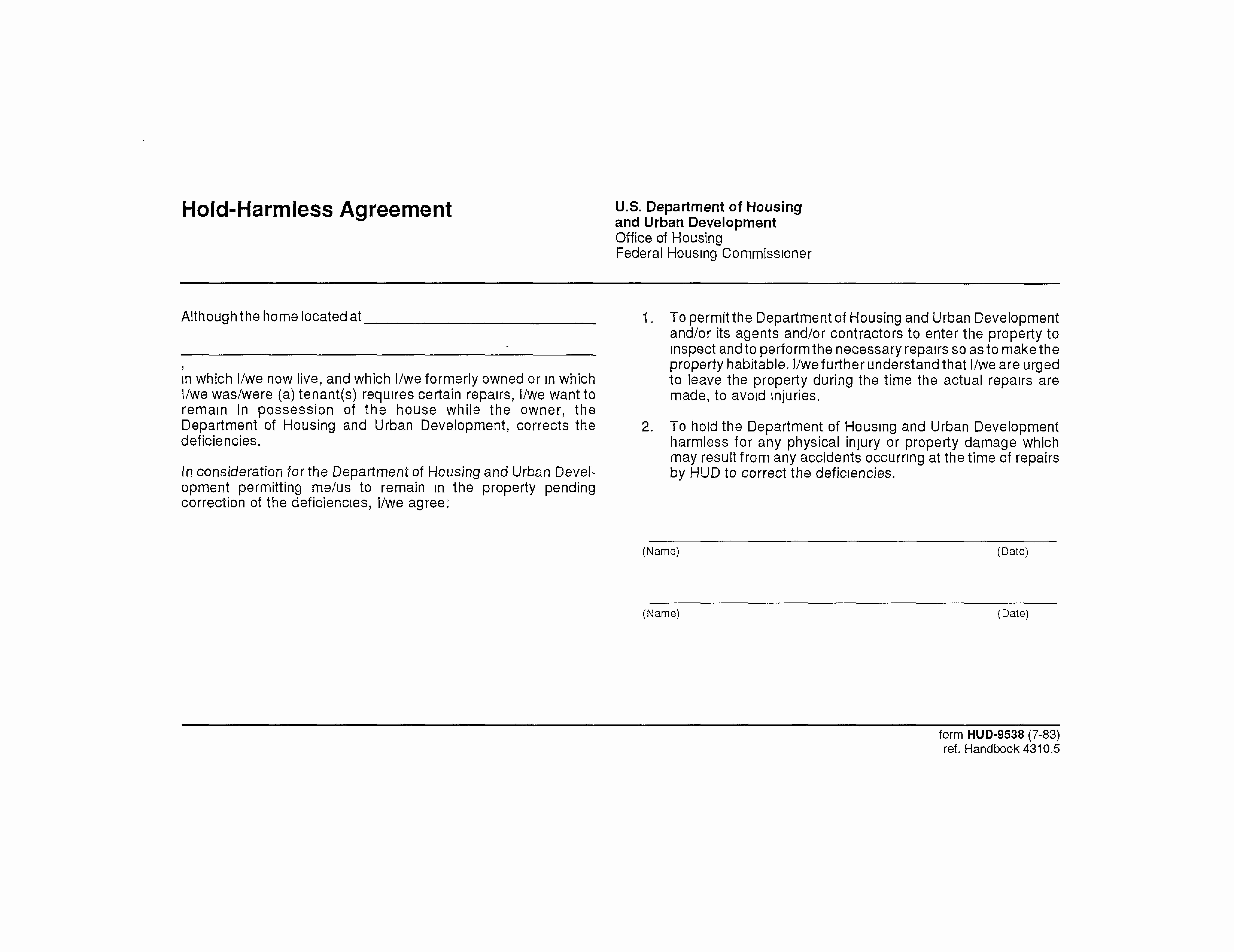 Hold Harmless Agreement form New 40 Hold Harmless Agreement Templates Free Template Lab