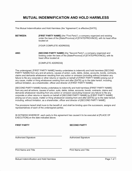 Hold Harmless Agreement form New 6 Hold Harmless Agreement forms Word Excel Templates