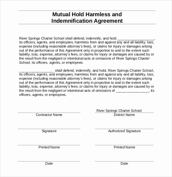 Hold Harmless Agreement form Unique Hold Harmless Agreement 32 Download Documents In Pdf