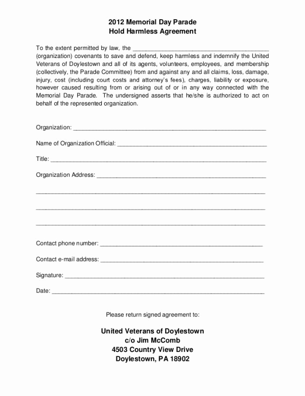 Hold Harmless Agreement form Unique Hold Harmless Agreement Template