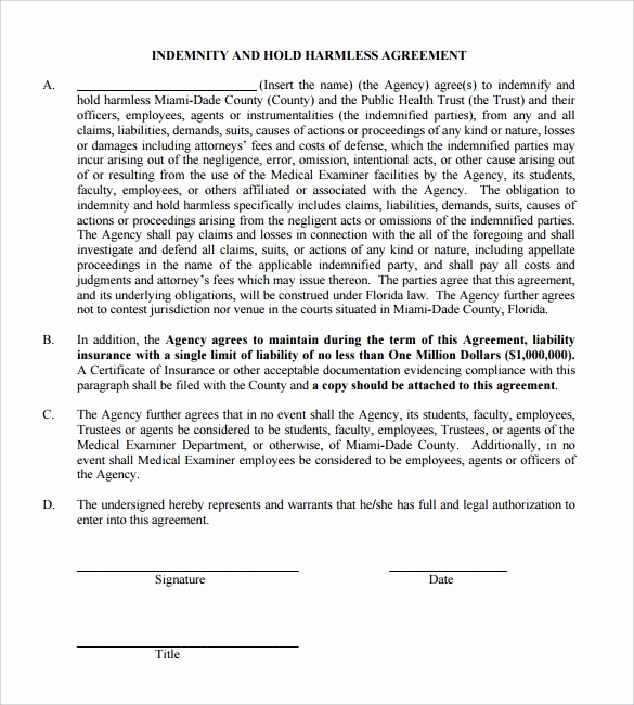 Hold Harmless Clause Example Beautiful Hold Harmless Agreement 32 Download Documents In Pdf
