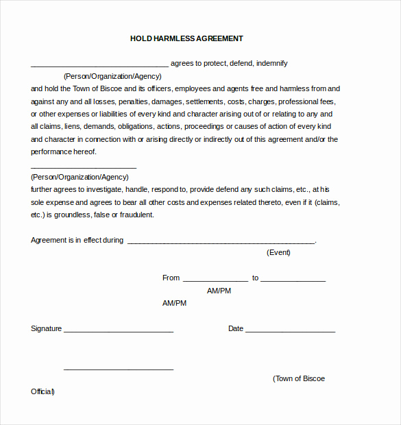 Hold Harmless Clause Example Fresh Hold Harmless Agreement Template – 13 Free Word Pdf