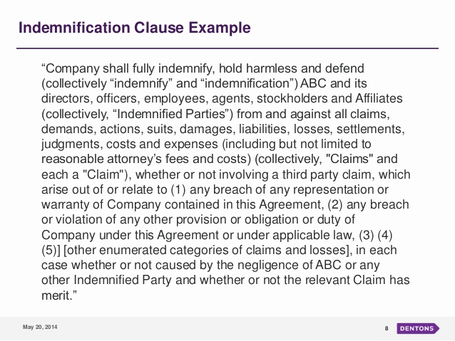 Hold Harmless Clause Example Inspirational Indemnification An Overview and Trends In M&a