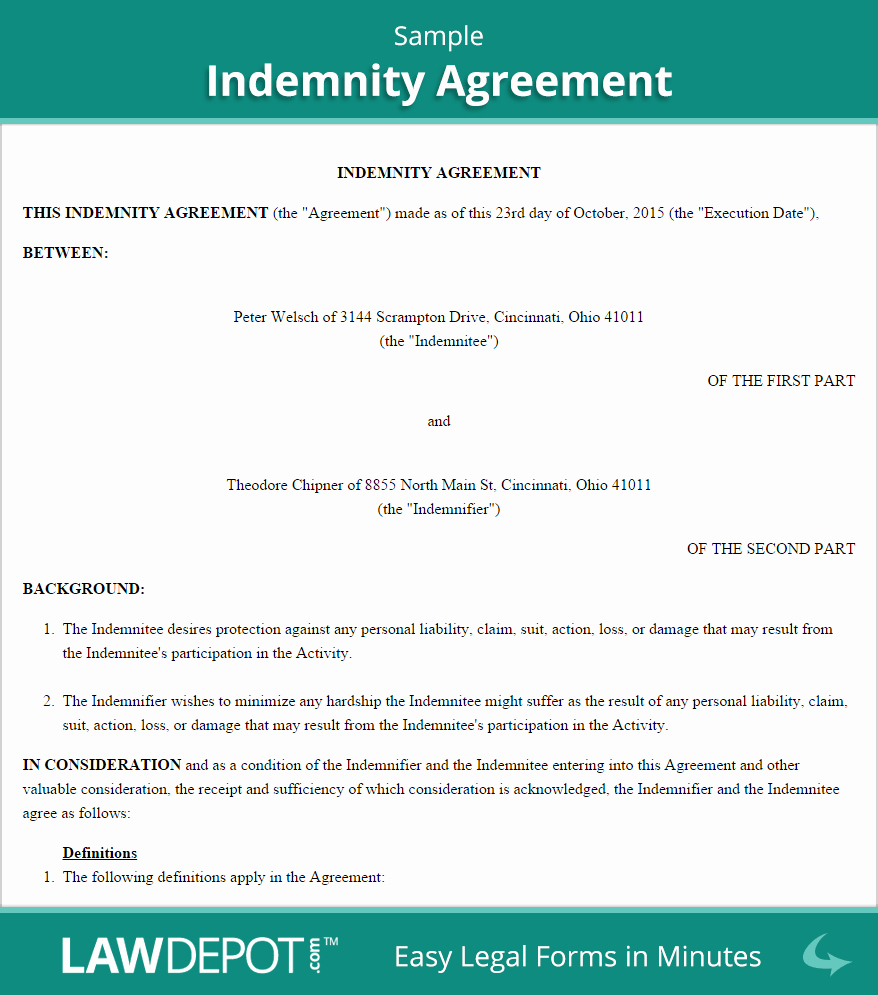 Hold Harmless Clause Example Lovely Free Indemnity Agreement Create Download and Print