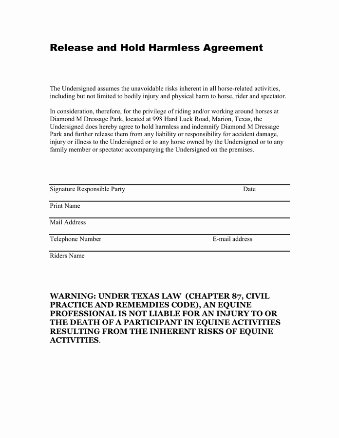 Hold Harmless Clause Example New Hold Harmless Agreement Texas