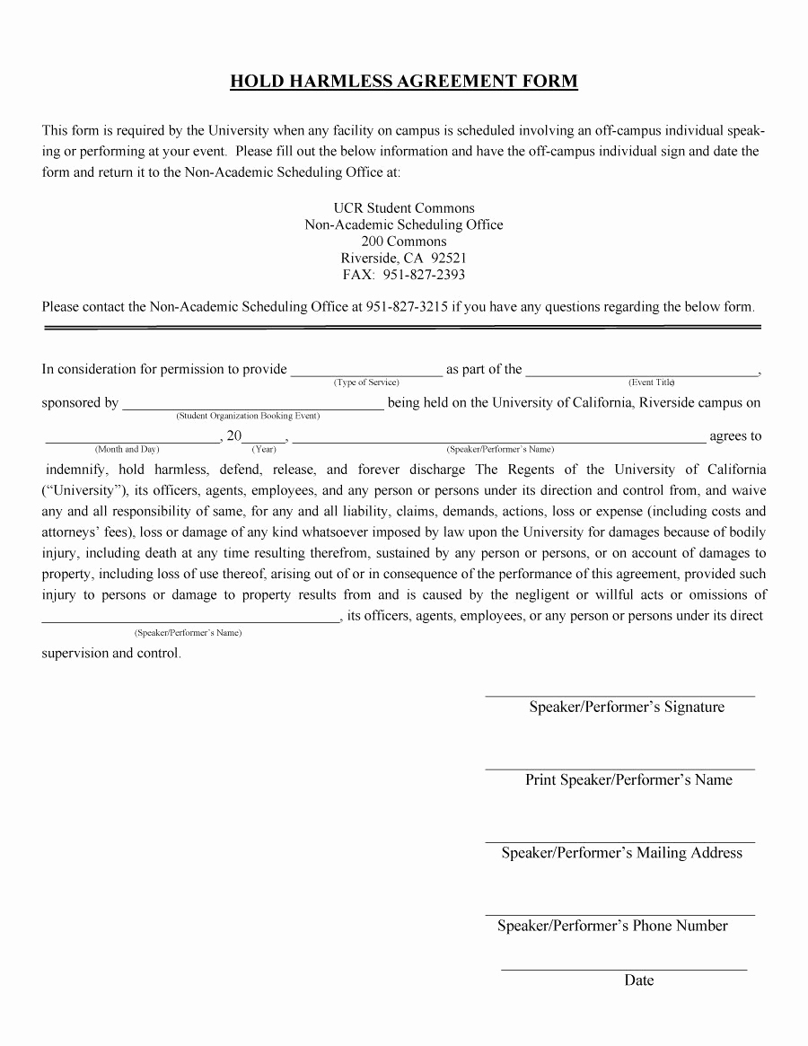 Hold Harmless Clause Example Unique 40 Hold Harmless Agreement Templates Free Template Lab
