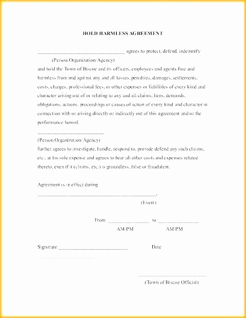 Hold Harmless Clause Example Unique Hold Harmless Clause Template
