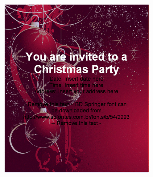 Holiday Party Invitation Template Beautiful Beautiful Christmas Party Invitation Card