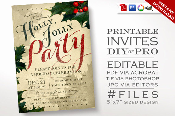 Holiday Party Invitation Template Best Of 20 Christmas Invitation Templates Free Sample Example