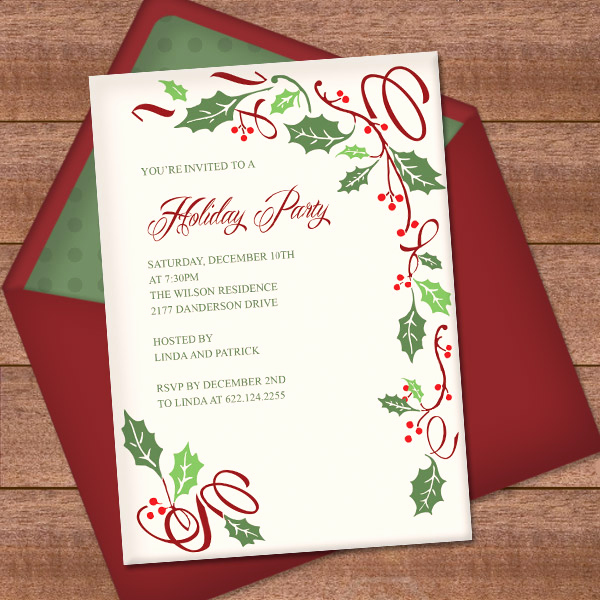 Holiday Party Invitation Template Elegant Christmas Invitation Template with Holly Border Design