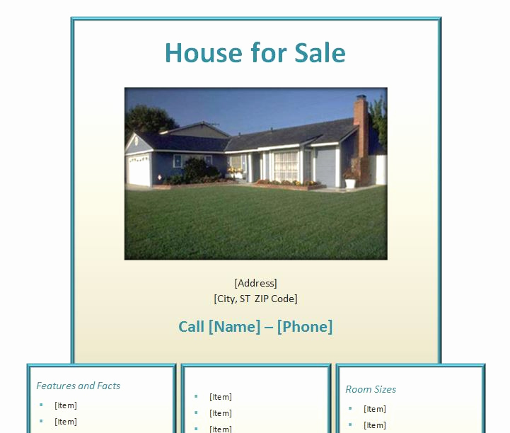 Home for Sale Flyer Beautiful Home for Sale Flyer
