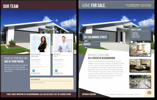 team flyer for real estate agents with co branding