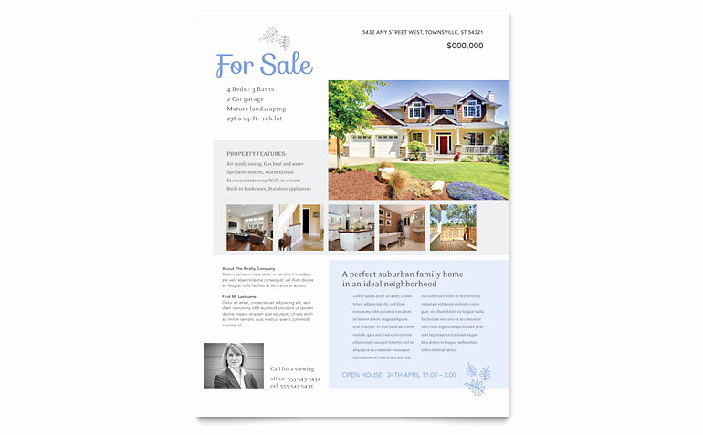 Home for Sale Flyer New Real Estate Listing Flyer Template Word & Publisher