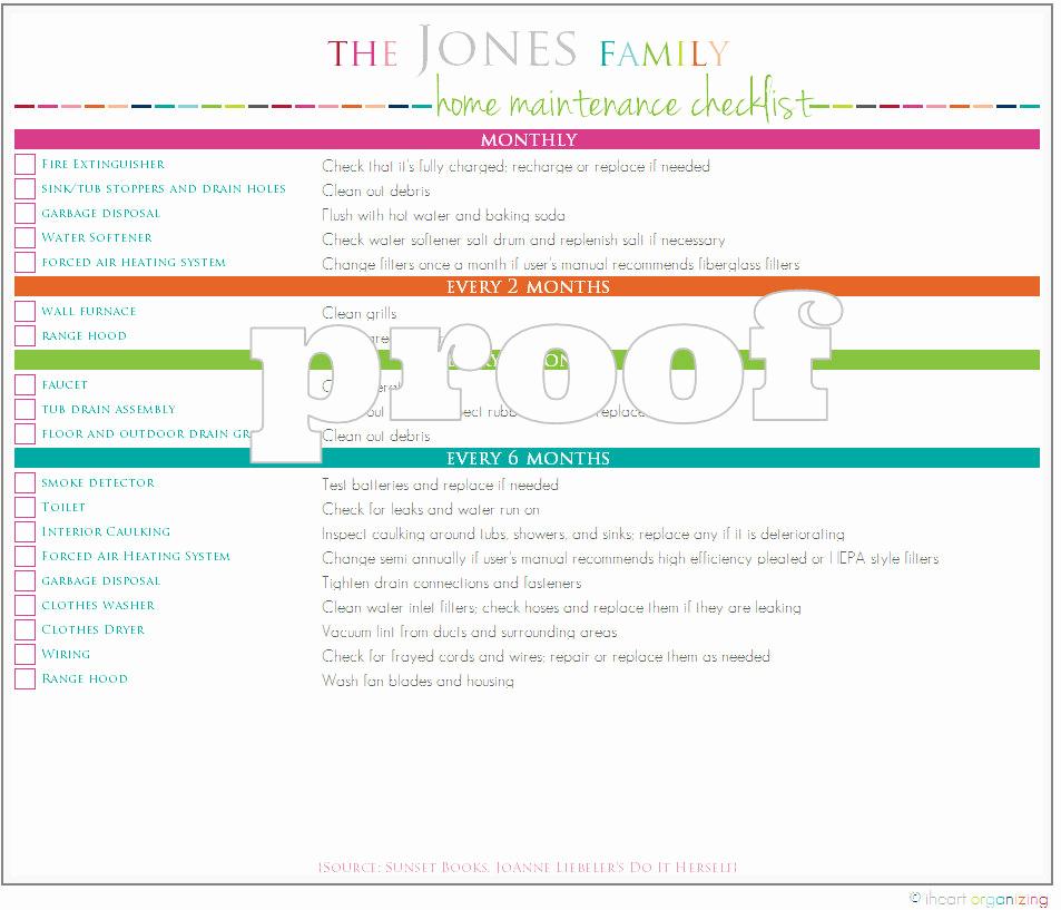 Home Maintenance Checklist Printable Awesome Personalized Home Maintenance Checklist Printable