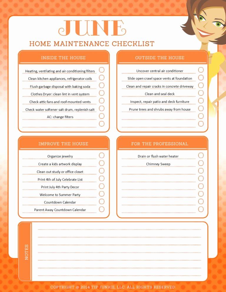 Home Maintenance Checklist Printable Elegant June organization and Home Repair Checklist [printable