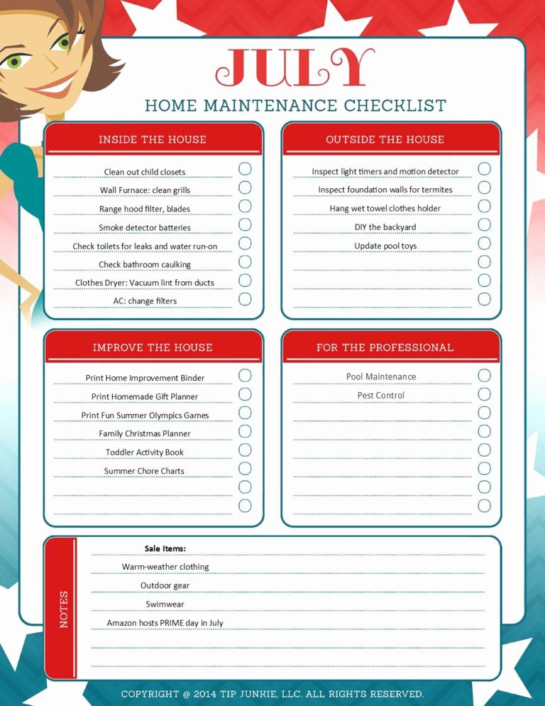 Home Maintenance Checklist Printable Fresh July organization and Home Repair Checklist [printable