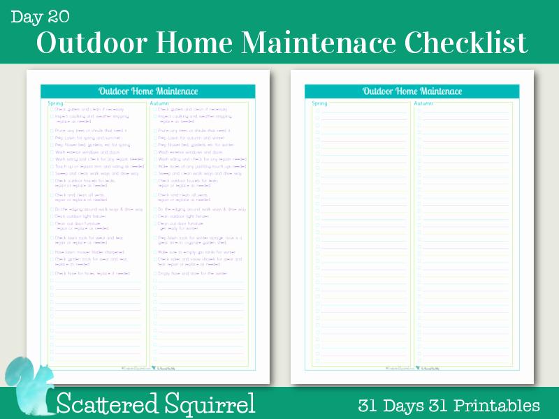 Home Maintenance Checklist Printable Inspirational Day 20 Outdoor Home Maintenance Checklists