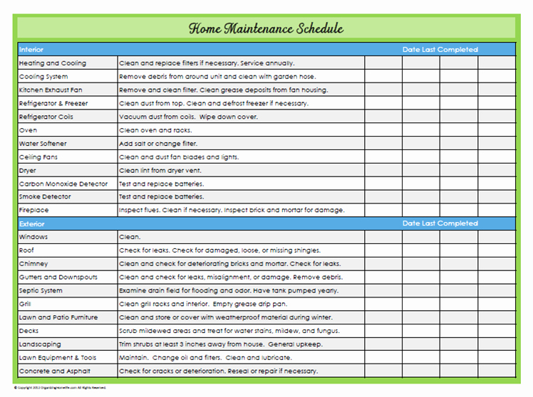 Home Maintenance Checklist Printable Luxury 31 Days Of Home Management Binder Printables Day 22 Home