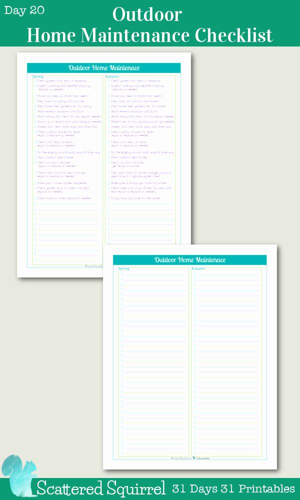 Home Maintenance Checklist Printable Luxury Day 20 Outdoor Home Maintenance Checklists Scattered