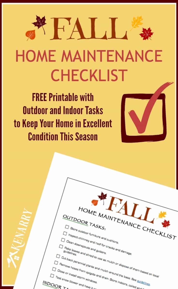 Home Maintenance Checklist Printable New Fall Home Maintenance Checklist Free Printable Kenarry