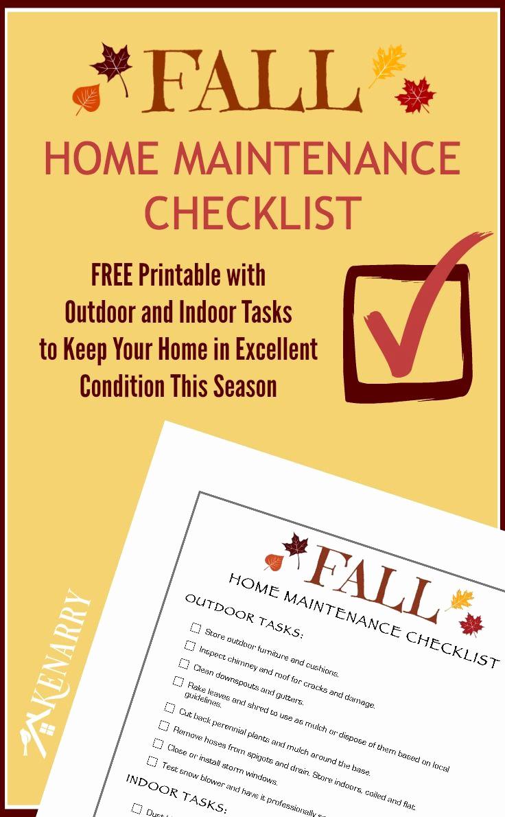 Home Maintenance Checklist Printable New Fall Home Maintenance Checklist Free Printable