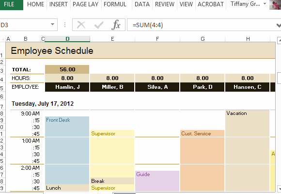 Hourly Schedule Template Excel Lovely Employee Schedule & Hourly Increment Template for Excel