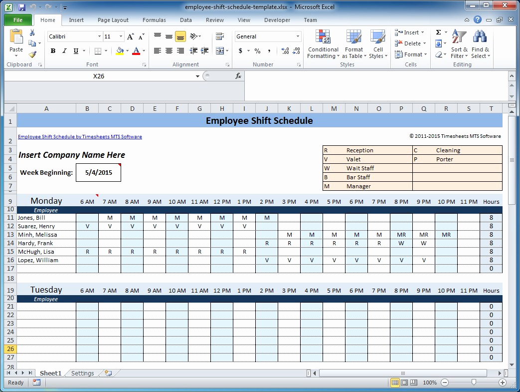 Hourly Schedule Template Excel Lovely Free Employee and Shift Schedule Templates