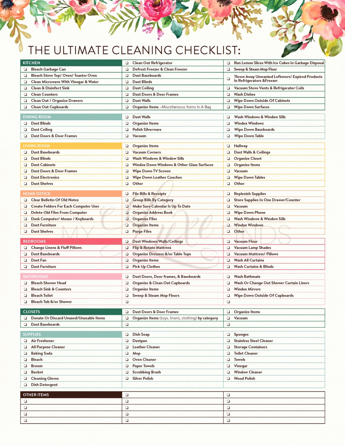 House Cleaning Checklist Template Best Of the Ultimate House Cleaning Checklist Printable Pdf