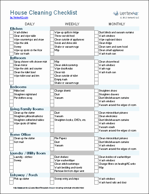 House Cleaning Checklist Template Lovely Cleaning Schedule Template Printable House Cleaning
