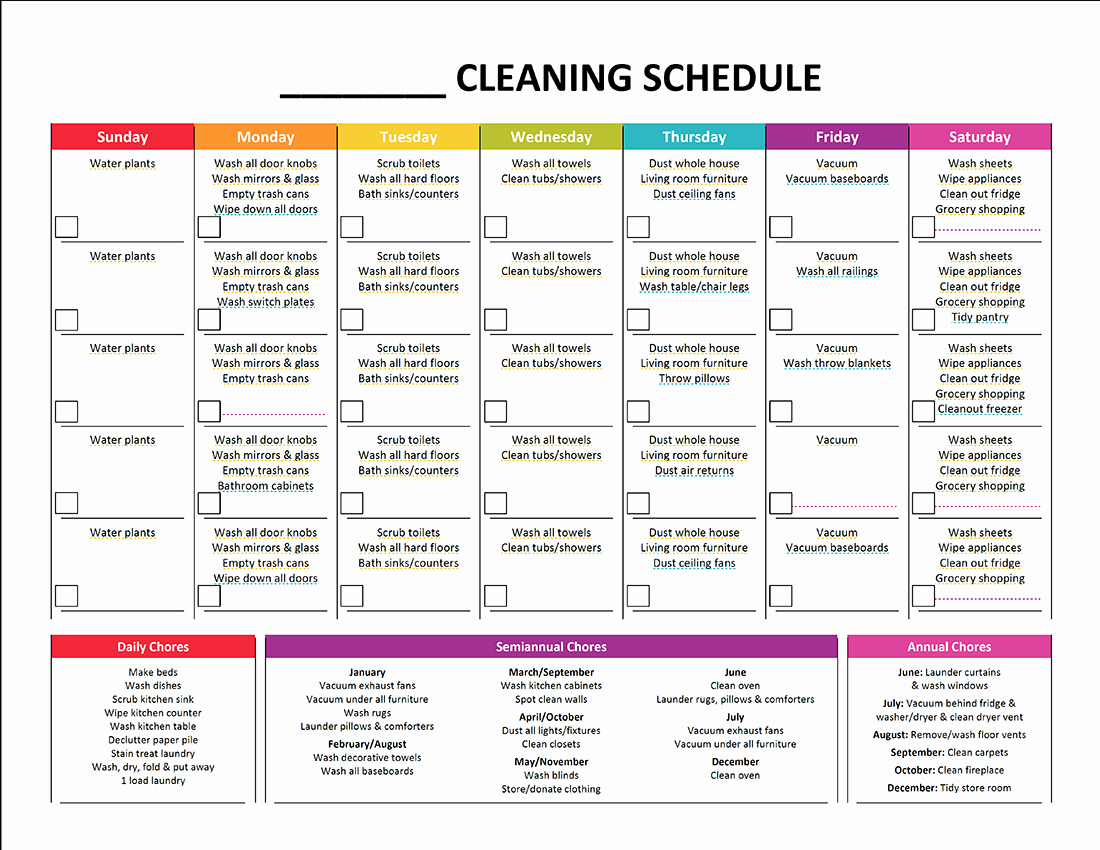 House Cleaning Checklist Template Unique Plete Housekeeping Printable Set