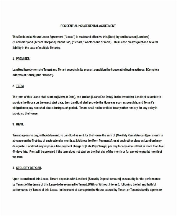House Rental Agreement Template Beautiful Free House Rental Agreement Picture – Rental Agreement