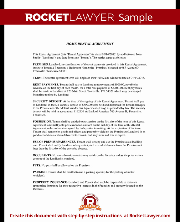 House Rental Agreement Template Best Of Home Rental Agreement House Lease Contract form Template